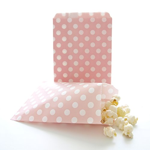 Wedding Favor Bags, Loot Bag, Girl Baby Shower Party Gift Bags, Treat Bags, Pink Polka Dot Bags (25 Pack)