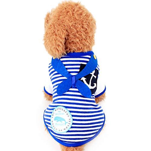 AUSWIEI Pet Clothes Anchor Seaman Applique Stripe Tie Feet Feet and Pet Sleeve Material Plus Guard Material (Color : Blue, Size : L) (Guard Stripe Tie)