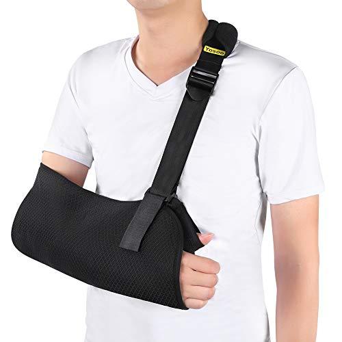 Eslinga de brazo, inmovilizador de hombro de malla transpirable con soporte de brazo con cómoda hombrera para la recuperación de lesiones de hombro, codo y brazo rotos