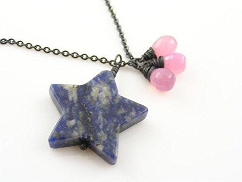 - Large Sodalite Star and Pink Chalcedony Drops Necklace