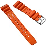 ZULUDIVER ND Limits Dive Watch Band, PVC Rubber, Polished Buckle, Orange, 22mm