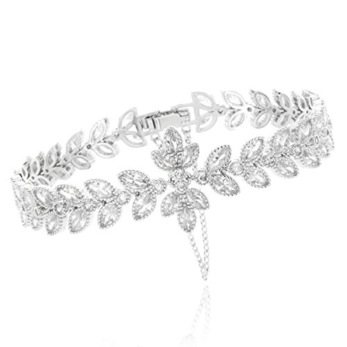 SP Sophia Collection Wedding Bridal CZ White Gold Plated Leaf - Bracelet 14k Marquise