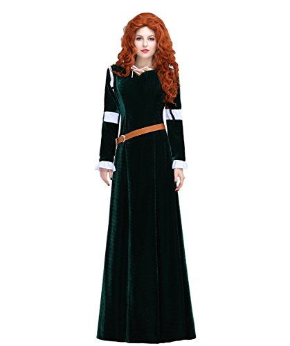 [Angelaicos Womens Deluxe Princess Halloween Costume Dress Long Deep Green (M, White Puff Sleeve)] (Comic Con Costumes For Females)