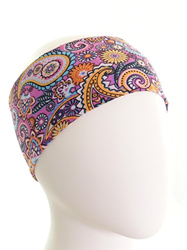 Ice cream INTENSITY Paisley Pink Fitness Headband: No slip, Antibacterial, Hypoallergenic and Thermo Regulating