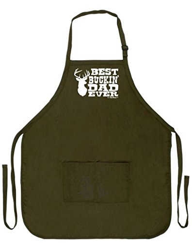 Father's Day Gift for Dad Best Buckin' Dad Ever Funny Apron for Kitchen BBQ Barbecue Cooking Baking Crafting Gardening Two Pocket Apron for Grandpa or Dad Apron Military Olive Green (Dad Apron)