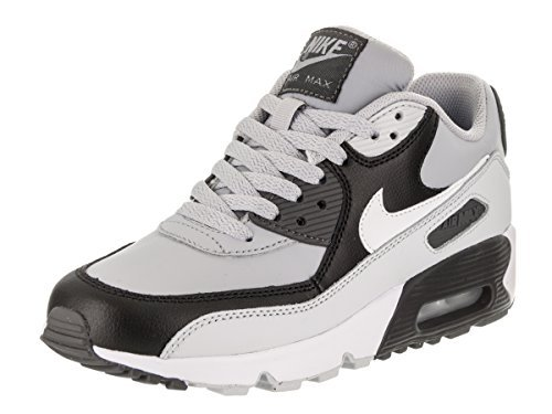 Nike Boy's Air Max 90 Leather (GS) Shoe, Wolf Grey/White-Pure Platinum-Black 4Y (Nike Air Max 90 Leather Black Grey)