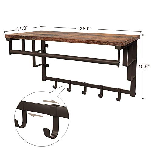 SONGMICS Vintage Coat Rack Shelf Wall Mounted, Coat Hooks Shelf with Hanging Rail, 5 Metal Removable Hooks and Storage Shelf for Entryway Hallway Bedroom Bathroom Living Room ULCR12AX by SONGMICS (Image #5)