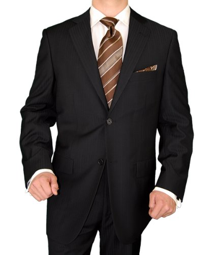 Marzzotti Mens Suit Gianni Two Button Jacket Flat Front Pants Shadow Stripe Black (46 Short)