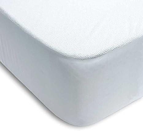 Regalitostv (135_x_200_cm) Protector colchón de Cama para Largo 200 cm Impermeable Absorbente Lavable Anti-ACAROS Ajustable Goma EN Todo SU PERÍMETRO Rizo Y PVC (135_x_200_cm)