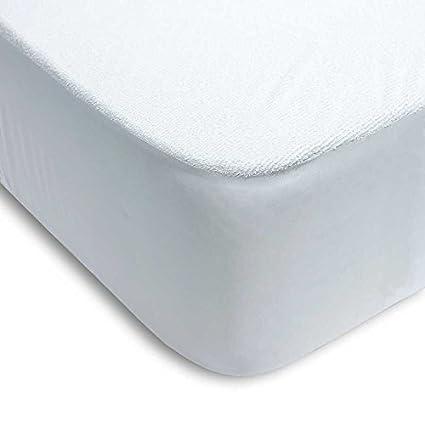 Protector colchón cama 150 x 200cm + 25cm IMPERMEABLE* ABSORBENTE* LAVABLE* ANTI-ACAROS* AJUSTABLE* GOMA EN TODO SU PERÍMETRO* RIZO Y PVC (pack TOBILLEROS RegalitosTV) (150_x_200_cm)