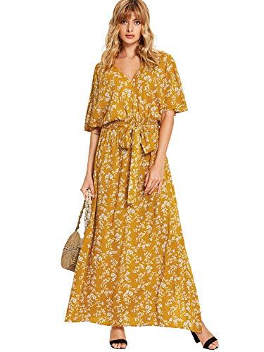 Milumia Women's Boho Split Tie-Waist Vintage Print Maxi Dress Small Yellow-2