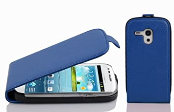 Cadorabo Carcasa Compatible con Samsung Galaxy S3 Mini Móvil En Rey Azul Funda Carcasa de Textura de Piel Sintética en Flip Case Cover Carcasa Funda