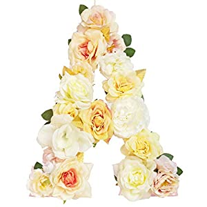 Jonhans8 Artificial Flower Letters Hanging Ornaments - 26 Letters (Champagne Theme), 12.2x9.4x0.6in - for Wedding Centerpieces Anniversary Birthday Party Home Decorations 3