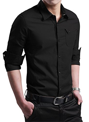 RubySports Men Clothing RS Casual Long Sleeve Slim Fit Button Down Dress Shirts For Men 3307 Black 4XL