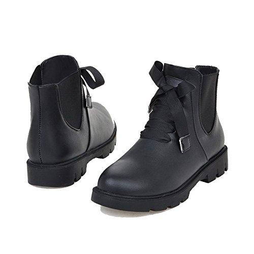 AllhqFashion Mujeres Pu Caña Baja Sólido Cordones Mini Tacón Botas Negro