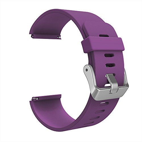 (Simpeak Bands for Fitbit Blaze, Silicone Replacement Band Strap for Fit bit Blaze Smart Fitness Watch (Without Frame), Small, Purple Band/Silver Buckle)