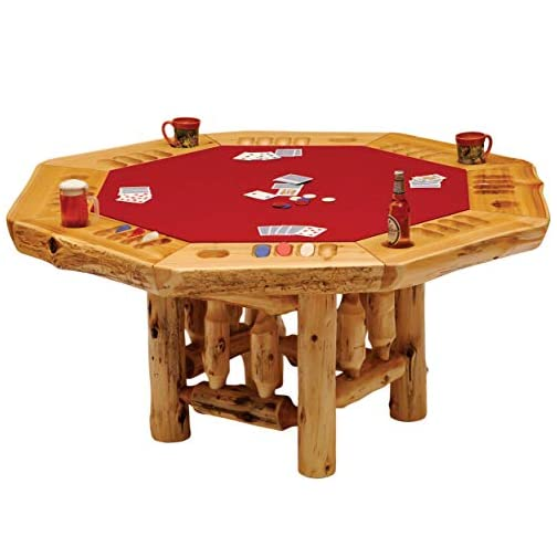 6-Sided Cedar Log Poker Table – Armor Finish Top – Optional Dining Table Cover in 3 finishes