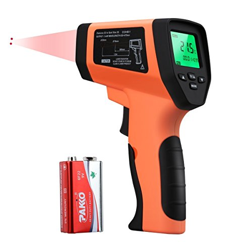 WELQUIC Professional Double Laser Infrared Thermometer with Non-contact sensor, 50:1 DTS Ratio, -58 to 1382 °F (-50 to 750°C) Range for HVAC Automotive Electrical Use(Orange) (Range Temp)