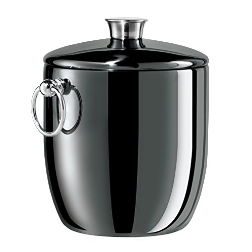 Black 3 Qt Ice Bucket (Oggi Nickel Plated Mirror Finish Stainless Steel Ice Bucket with Tongs, 3 quart)