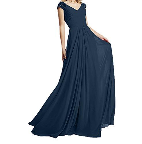 Abendkleider Ausschnitt Linie Lang Rot Kurzarm Charmant Promkleider Tinte Blau A Brautjungfernkleider Damen V Abschlussballkleider PgqwnztX
