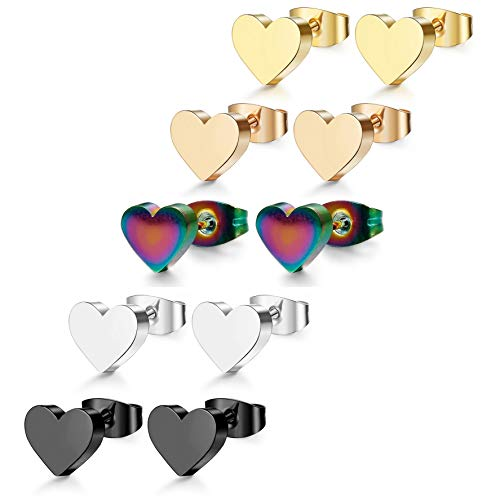ORAZIO 5 Pair Stainless Steel Heart Stud Earrings for Women Men ()