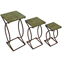 Wood & Metal Nesting Tables Set Of 3 Rustic Curved Leg Wood Top Nesting Tables 13 X 27.5 X 13 Inches Red