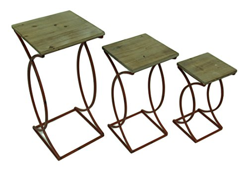 Zeckos Wood & Metal Nesting Tables Set Of 3 Rustic Curved Leg Wood Top Nesting Tables 13 X 27.5 X 13 Inches (Curved Top Nesting Tables)