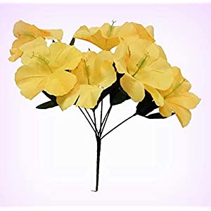 Inna-Wholesale Art Crafts New 5 Hibiscus Yellow Silk Decorating Flowers Bridal Bouquets Centerpieces - Perfect for Any Wedding, Special Occasion or Home Office D?cor 48
