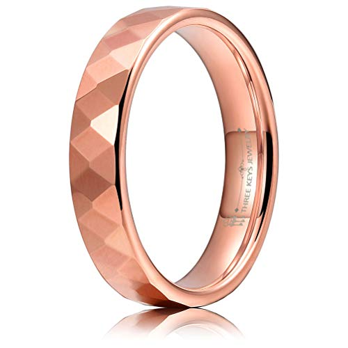 THREE KEYS JEWELRY Multi-Faceted Tungsten Wedding Rings 2mm 4mm 6mm Rose Gold Bands for Men Women