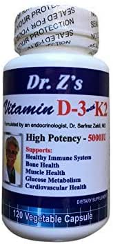 Dr. Z's - Vitamin D3 with Vitamin K2 - High Potency 5000IU - Bone and Immune System Health - 120 Count