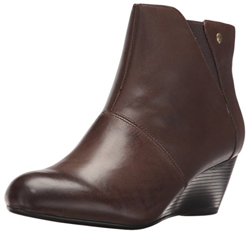 Hush Puppies Women's Poised Rhea Boot, Black Wp Leather, 6 M US Dark Brown Leather