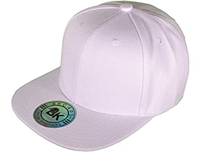 New Blank Plain All White Snapback Hat Cap Flat Bill Adjustable by BK