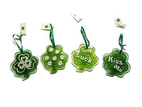 St Patricks Day Glass Clover Decorations Bundle  Four Items  Four Glass Shamrock Cover Hanging Decorations