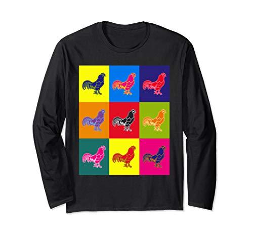 Cool n A Little Weird Retro Pop Art Barnyard Rooster Long Sleeve T-Shirt