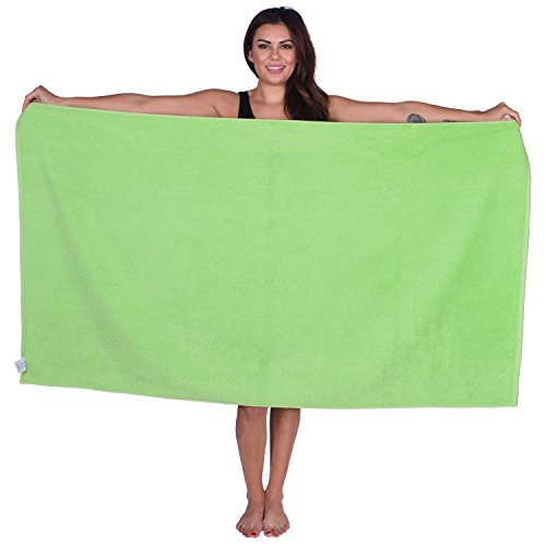 La Calla Turkish Beach Towel - Oversized 35 Inches by 60 Inches Bath Towels - 100% Terry Velour Cotton - Multipurpose Use for Beach Bath and Spa - Eco Friendly Material (Lime Green, 2)