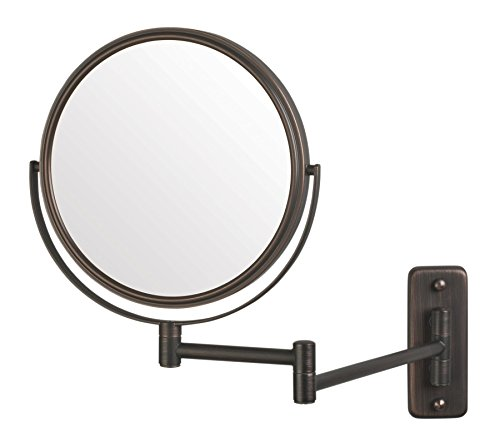 Jerdon JP7506BZ 8-Inch Wall Mount Makeup Mirror with 5x Magnification, Bronze - Mirrors Bathroom Mount