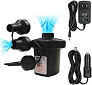 YiYLunneo Electric Air Pump with 3 Nozzles, Home&Car Use Portable Quick Fill Air Pump 2 in 1 Inflator/Defl