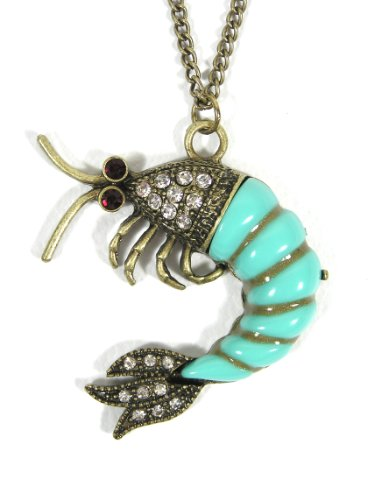 - Magic Metal Prawn Necklace Blue Shrimp Krill Ocean Lobster Nautical NI32 Seafood Pendant Fashion Jewelry