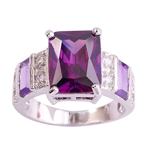Psiroy 925 Sterling Silver Created Amethyst Filled Wide Band Engagement Ring Size ()