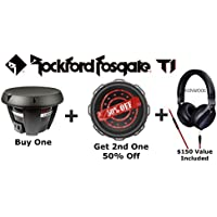 Two T1 Rockford Fosgate 12 1600 Watt Max Dual 4 Ohm Voice Coil Power Series T1D4-12 Subwoofers with Kenwood KH-KR900 Headphones