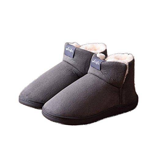 TELLW hombres y mujeres Zapatillas de invierno calientes Zapatillas de algod¨®n de peluche zapatillas interiores de invierno peludos suaves Grau