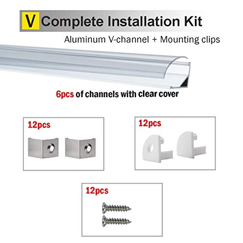 StarlandLed 6 Pack 1M/3 3ft V-Shape LED Channel Aluminum with Clear PC  Cover for Strip Lights Mounting,LED Strip Light Channel with Complete  Mounting
