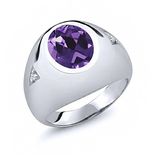 4.08 Ct Oval Purple Amethyst White Created Sapphire 925 Sterling Silver Men's (Created Purple Sapphire)