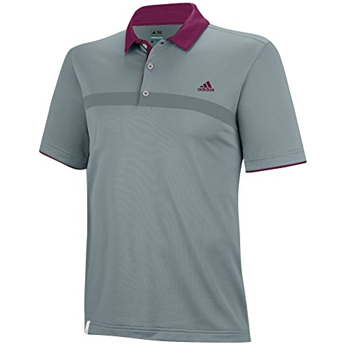 adidas Golf Men's Climacool Engineered Print Polo, Green Earth/Tribe Berry, Medium