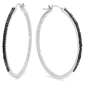 0.20 Carat (ctw) Sterling Silver Round Cut Black Diamond Ladies Hoop Earrings 1/5 CT