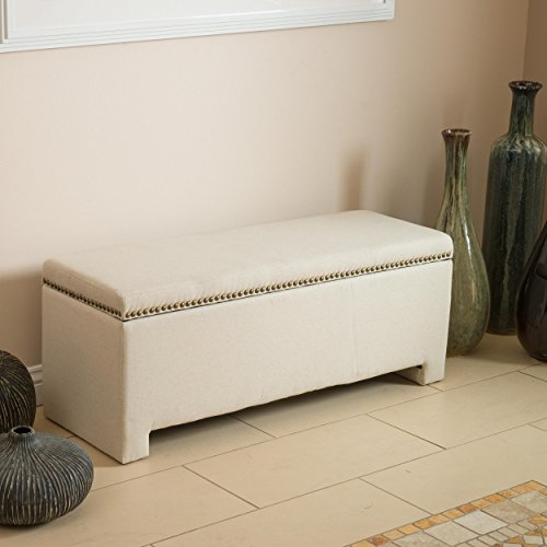 Norfolk Polyester and Linen Ivory Storage Bench by Norfolk