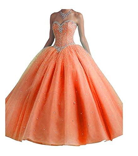 Chupeng Women's Silvery Beaded Ball Gown Quinceanera Party Dresses Prom Long Dresses With Crystal Sequins