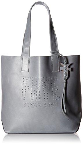 FRYE Carson Logo Perf Leather Tote Bag, Steel Grey