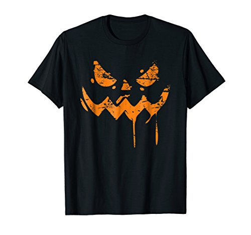 Scary Halloween Pumpkin Face T Shirt Jack O Lantern Angry