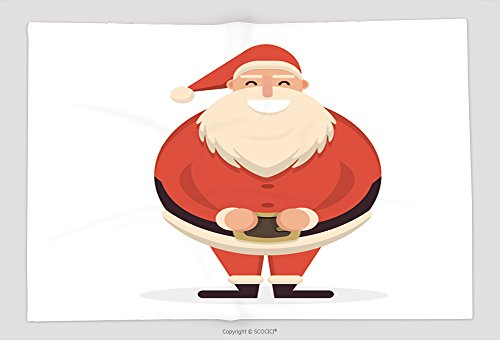 Supersoft Fleece Throw Blanket Santa Claus Standing Straight With His Hands On Belt Cute Cartoon Cheerful And Smiling Father 509870137